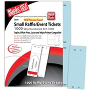 "Blanks/USA® 2 1/8"" x 5 1/2"" Numbered 01-1000 Digital Index Cover Raffle Ticket, Blue, 125/Pack"