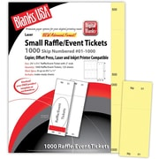 "Blanks/USA® 2 1/8"" x 5 1/2"" Numbered 01-1000 Digital Index Cover Raffle Ticket, Yellow, 125/Pack"