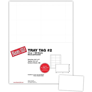 Blanks/USA® 3 1/4in. x 2in. USPS Tray Tag, White, 500/Pack