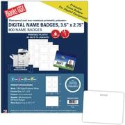 "Blanks/USA® 3 1/2"" x 2 3/4"" Digital Name Tag, White, 100/Pack"
