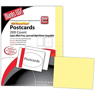 Blanks/USA® 5 1/2in. x 4 1/4in. 67 lbs. Bristol Digital Postcard, Canary, 50/Pack