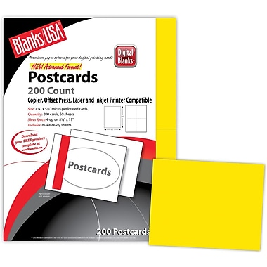 Blanks/USA® 5 1/2in. x 4 1/4in. 65 lbs. Timberline Digital Postcard, Sunfish Yellow, 50/Pack