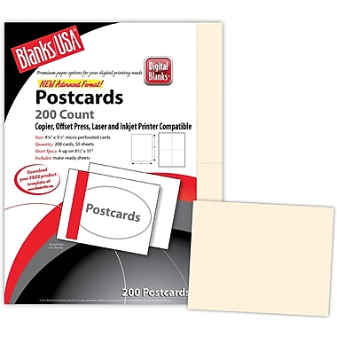 Blanks/USA® 5 1/2in. x 4 1/4in. 90 lbs. Index Digital Postcard, Ivory, 50/Pack