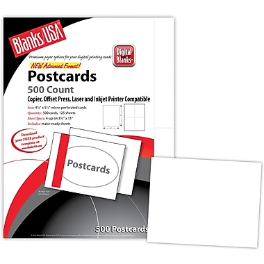 Blanks/USA® 5 1/2in. x 4 1/4in. 65 lbs. Timberline Digital Postcard, Birch White, 125/Pack