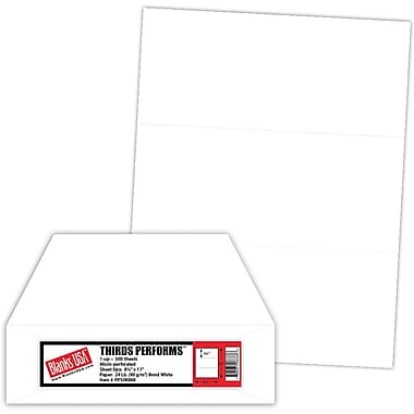 Blanks/USA® Thirds Performs 8 1/2in. x 11in. 24 lbs. Perforated 3 1/2in. Business Form, White, 500/Pack
