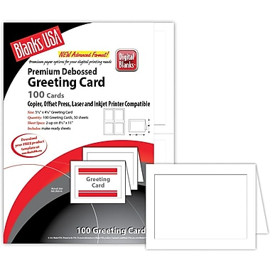 Blanks/USA® 5 1/2in. x 4 1/4in. 80 lbs. Digital Smooth Cover Greeting Card, White, 50/Pack