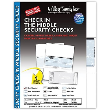Kan't Kopy® Blank/USA® 8 1/2in. x 11in. 24 lbs. Security Check on Middle Papers, 250/Pack