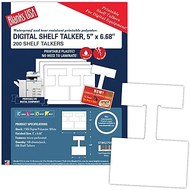 Blanks/USA® 5in. Tall Shelf Talker, White, 200/Pack