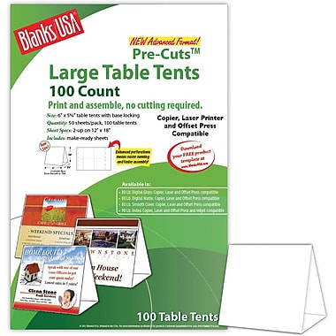 Blanks/USA® 6in. x 3 3/8in. x 5 5/8in. 80 lbs. Digital Table Tent, White, 100/Pack