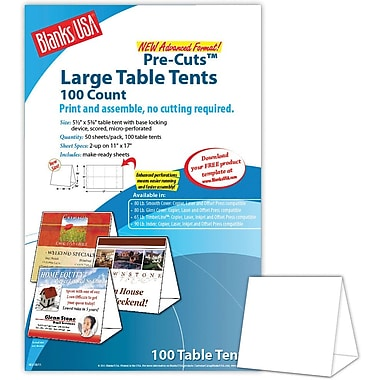 Blanks/USA® 5 1/2in. x 3 1/8in. x 5 3/8in. 80 lbs. Digital Table Tent, White, 100/Pack