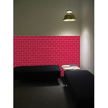 Crearreda Bricks Peel and Stick Foam Tiles, Red