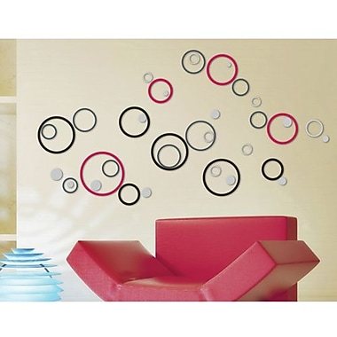 Crearreda 3D Deco Circles Peel and Stick Foam Wall Decal, Black/Gray/Red