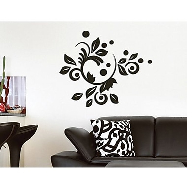 Crearreda 3D Romantic Bloom Peel and Stick Foam Wall Decal, Black