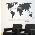 RoomMates Mia & Co World Map Giant Peel and Stick Transfer Wall Decal, Dark Gray