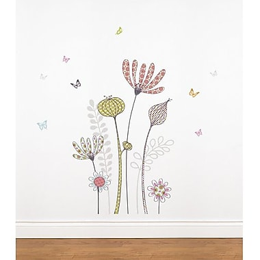 RoomMates Mia & Co Flowers and Butterflies Peel and Stick Transfer Wall Decal