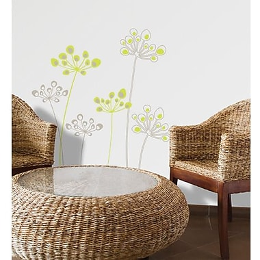 RoomMates Mia & Co Astral Flowers Peel and Stick Transfer Wall Decal, Green