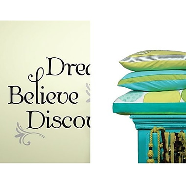 RoomMates Dream/Believe/Discover Peel and Stick Wall Decal, Black