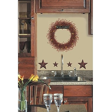 RoomMates Country Wreath Peel and Stick Giant Wall Decal, Red/Pink