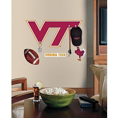 RoomMates Virginia Tech Peel and Stick Giant Wall Decal with Hooks, Orange/Burgundy