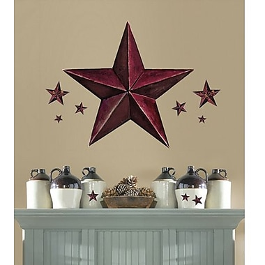 RoomMates Barnstar Peel and Stick Giant Wall Decal, Burgundy