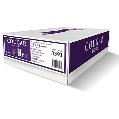 Domtar Cougar® 12in. x 18in. 70 lbs. Smooth Laser Paper, White, 1100/Case
