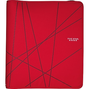Five Star 1.5-Inch Round-Ring Zipper Binder, Red (72356)