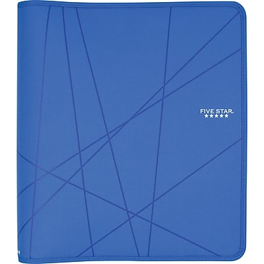 Five Star 1.5-Inch Round 3-Ring Zipper Binder, Blue (72358)