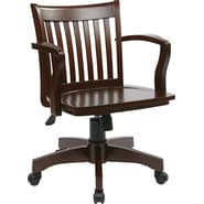 Office Star OSP Designs Deluxe Wood Mid Back Banker's Chair With Wood Seat, Espresso Wood