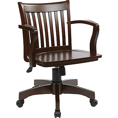 Office Star Wood Banker's Chair, Fixed Arms, Espresso