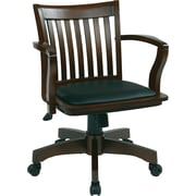 Office Star OSP Designs Deluxe Wood Mid Back Banker's Chair With Black Vinyl Padded Seat, Espresso
