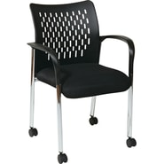 Office Star Pro-Line II™ Fabric Mid Back Guest Chair With Casters, Black
