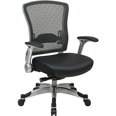 Office Star Space Seating® Foam Eco Leather Mid Back Executive Chair, Black