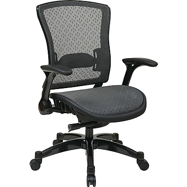 Office Star Space Seating® Mesh SpaceGrid Mid Back Black Executive Chair, Gunmetal