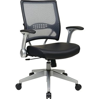 Office Star Space Seating® Leather Mid Back Managers Chair, Black