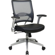 Office Star Space Seating Mid-Back Mesh and Eco Leather Manager's Chair, Adjustable Arms, Black