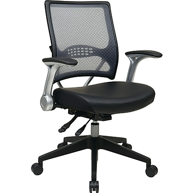 Office Star Space Seating® Leather Mid Back Multi Function Managers Chair, Black