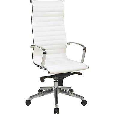 Office Star OSP Designs Eco Leather High Back Chair, White