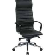 Office Star 73603 OSP Designs Eco Leather High-Back Executive Chair with Fixed Arms, Black