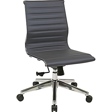 Office Star OSP Designs Eco Leather Mid Back Chair, Gray