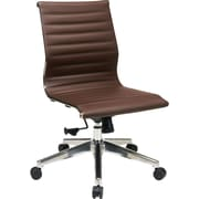 Office Star Mid-Back Eco Leather Executive Chair, Armless, Brown