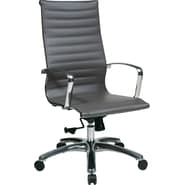 Office Star OSP Designs Leather High Back Executive Chair, Grey