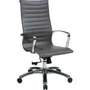 Office Star 74602LT OSP Designs Eco Leather High-Back Executive Chair with Fixed Arms, Gray
