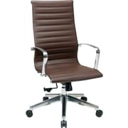 Office Star High-Back Leather Executive Chair, Fixed Arm, Brown