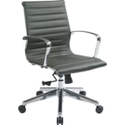 Office Star OSP Designs Leather Mid Back Managers Chair, Grey