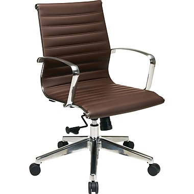 Office Star 74618LT ProLine II Eco Leather Mid-Back Conference Chair with Fixed Arms, Chocolate Brown