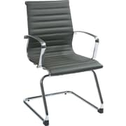 Office Star OSP Designs Mid-Back Eco Leather Guest Chair, Fixed Arms, Gray