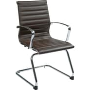 Office Star OSP Designs Eco Leather Mid Back Guest Chair, Chocolate