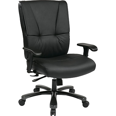Office Star Pro-Line II™ Top Grain Leather Big and Tall Deluxe Executive Chair, Black