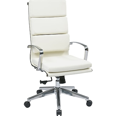 Office Star OSP Designs Leather High Back Executive Chair, White