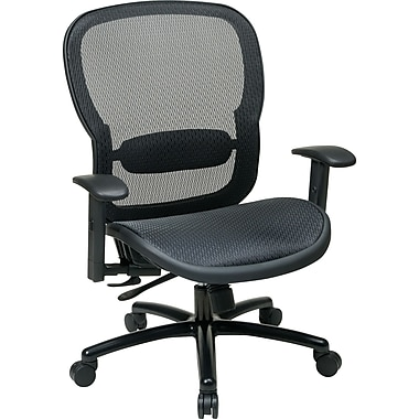 Office Star 839-11B35WA Space Seating Mesh Executive Chair with Adjustable Arms, Black